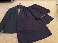 Suit with trousers and skirt navy blue