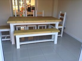 New handmade dining table bench and 5 chairs set 6ft rustic chunky farmhouse shabby chic furniture
