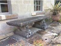 Ornate Stone Lion Bench VERY HEAVY