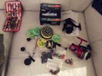 Reels flies accessories +fishing body warmer