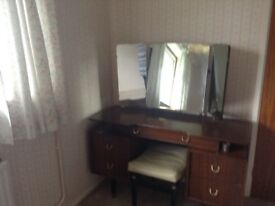 Mahogany Dressing Table with Mirror and Stool