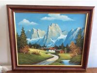 Signed Painting of the Alps oil on canvas by Ash BEAUTIFUL COLOURS AND FRAME