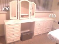 Various Bedroom Furniture - White - Drawers & Cupboard - Good condition - Cooker also available