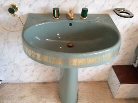 Vintage green and gold bathroom suite - immaculate condition