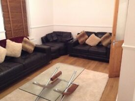 Black Real Leather sofas bought from DFS! £600 for SET-see description for individual price list :)