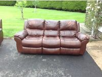3 piece full leather recliner suite