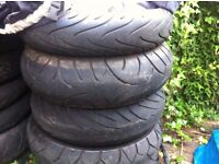 motorcycle tyres front and rear used 120/ 160/ 170/ 180/190/