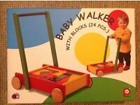 BNIB Pintoy Wooden Baby Walker and Blocks