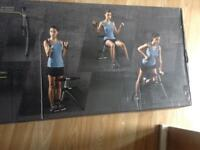 New folding workout bench and dumbbells