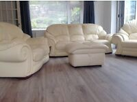 CREAM LEATHER 4 PIECE SUITE IN EXCELLENT CONDITION