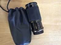 Soligor (Olympus fit) 80-200 mm f4.5 macro zoom OM lens with polarising filter, lens cover and case