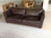Large Sofa, aniline leather in chocolate brown