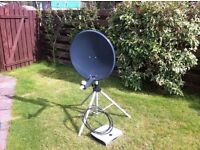 Satellite dish and tripod with flex and player
