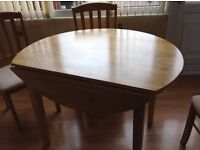 Kitchen table and four chairs, drop leaf, excellent condition