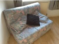 Sofa bed - lovely blues/grey colour cover