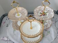 3 x MINI 2 Tier Biscuit / Trinket Stands. Gold & White.