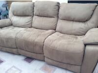 Brown Electric Reclining 3 Seat Sofa
