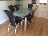 Glass Extending Dining Room Table With 6 Leather Chairs