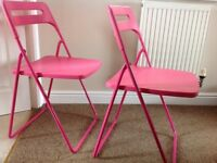 Chairs X 2 IKEA folding pink chairs