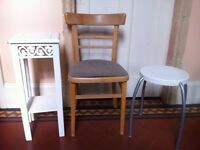 3 Vintage Items Desk Chair Stool Seat Plant Stand or Lamp Table Kitchen Dining Up-cycling