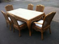MARBLE TOP CANE CONSERVATORY 6ft DINING TABLE & 6 CHAIRS ~~ CAN DELIVER TO WEST MIDLANDS