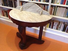 Victorian Mahogany Marble topped semi circular washstand with carved front leg