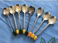 A Set of 8 Vintage Silver Plated Coffee Bean Spoons.