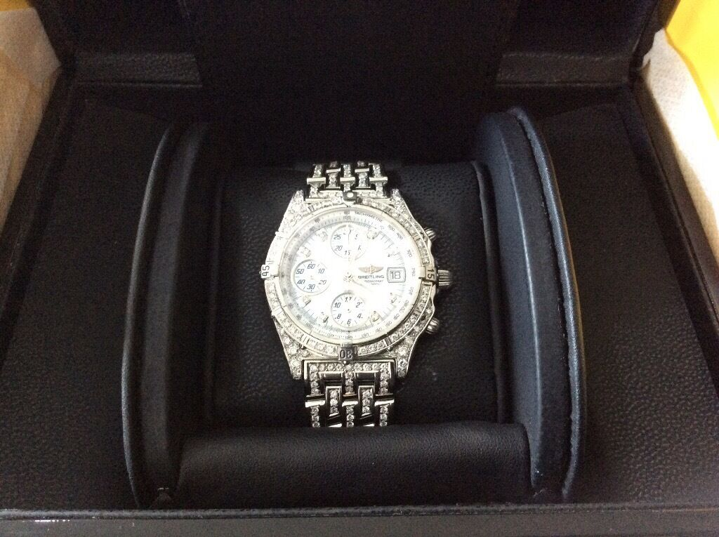 Gents brietling fully loaded with diamonds,comes in box,Paperwork,