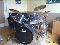 Pearl 5 piece drum kit, with cymbals and double pedal