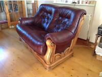 2 seater wood and leather settee