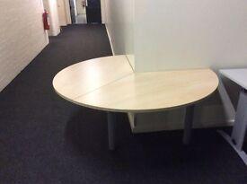 Light oak rounded corner desk