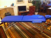 Portable Kingpower massage table. Blue. As new. Lightweight.