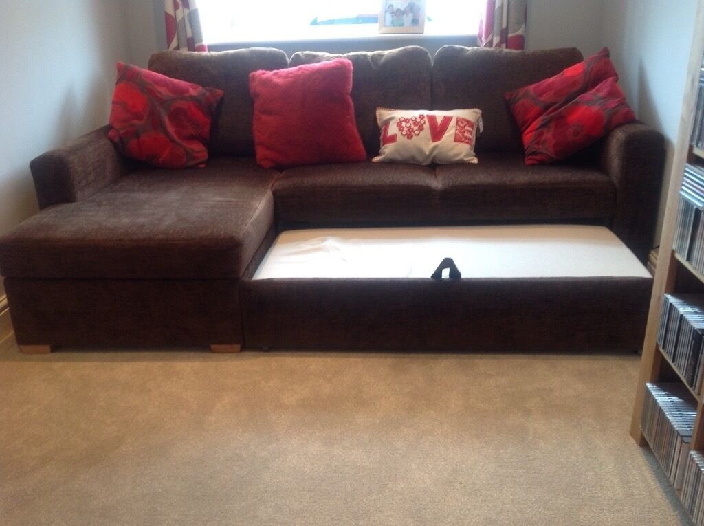 John Lewis L Shaped Sofa Bed With Underneath Storage In Chocolate Brown Fabric Excellent Condition