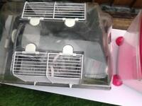 Hamster cage and small fish tank