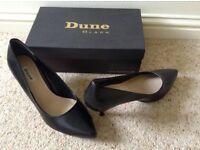 Dune Ladies Black Leather Court Shoes