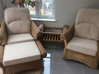 Two Wicker Chairs With Matching Coffee Table & Foot Stool