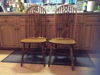 high back Wheelback Chairs.. country pine chairs a pair
