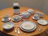 Six Place Setting Denby Dinner set with coffee cups and casseroles