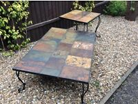 Slate topped coffee and lamp tables