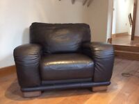 Brown Leather Large Armchair