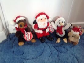 Set of four 'chilly' soft Christmas toys
