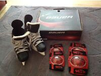Child Bauer Vapor Ice Skates size 4.5 with free elbow and knee protection