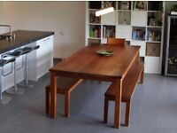 Modern dining table (seats 10), benches, chairs and coffee table in solid cherry wood / oil finish.