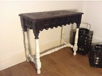 Antique heavily carved side table console