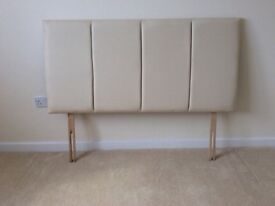 4FT6 Double Bed Headboard -Faux Leather - Beige / Cream. Excellent AS NEW Condition ** 2 For Sale **
