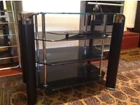 Black glass stereo unit