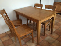 Table and four chairs, chestnut colour