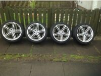 4 VW Alloy Wheels with Good Tyres 225/40/18