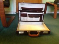 BROWN LEATHER BRIEFCASE WITH PALE SUEDE INTERIOR, COMBINATION LOCK