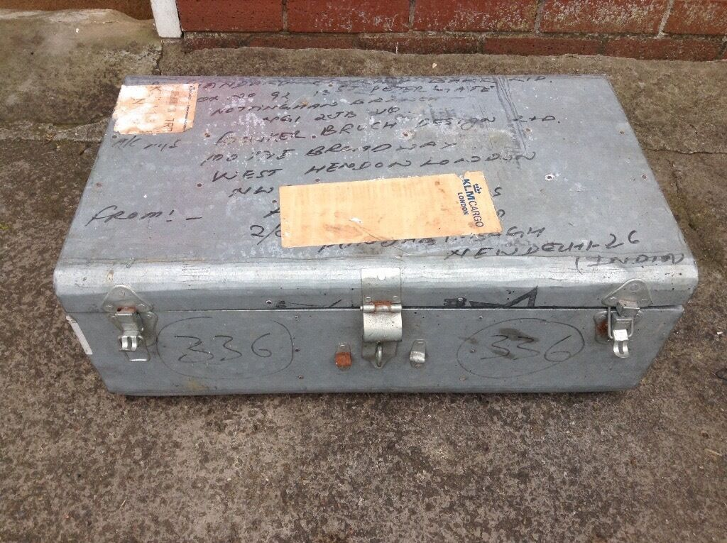 vintage aluminium light weight metal suitcase - display prop ...